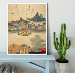 The Shrine Komagata Do in Komagata by Hokusai Framed Print - Canvas Art Rocks -6