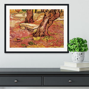 The Stone Bench in the Garden of Saint-Paul Hospital by Van Gogh Framed Print - Canvas Art Rocks - 1