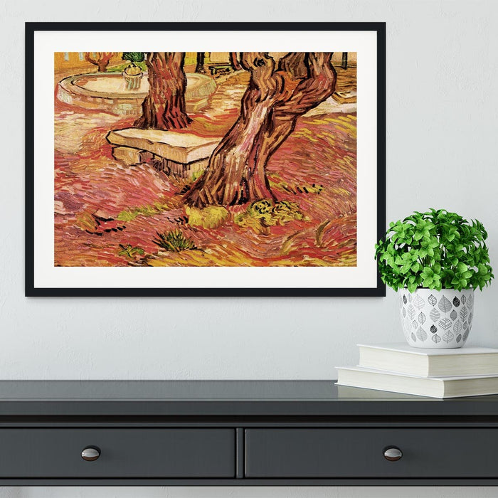The Stone Bench in the Garden of Saint-Paul Hospital by Van Gogh Framed Print