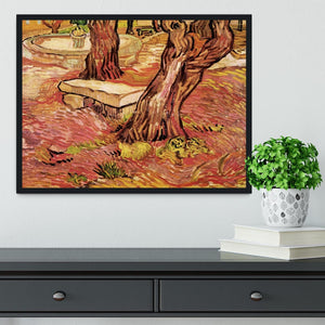 The Stone Bench in the Garden of Saint-Paul Hospital by Van Gogh Framed Print - Canvas Art Rocks - 2