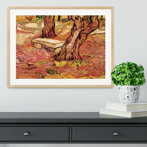 The Stone Bench in the Garden of Saint-Paul Hospital by Van Gogh Framed Print - Canvas Art Rocks - 3