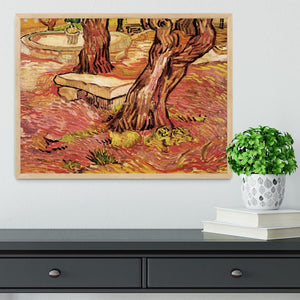 The Stone Bench in the Garden of Saint-Paul Hospital by Van Gogh Framed Print - Canvas Art Rocks - 4