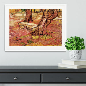 The Stone Bench in the Garden of Saint-Paul Hospital by Van Gogh Framed Print - Canvas Art Rocks - 5