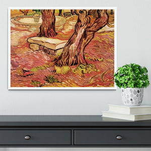 The Stone Bench in the Garden of Saint-Paul Hospital by Van Gogh Framed Print - Canvas Art Rocks -6