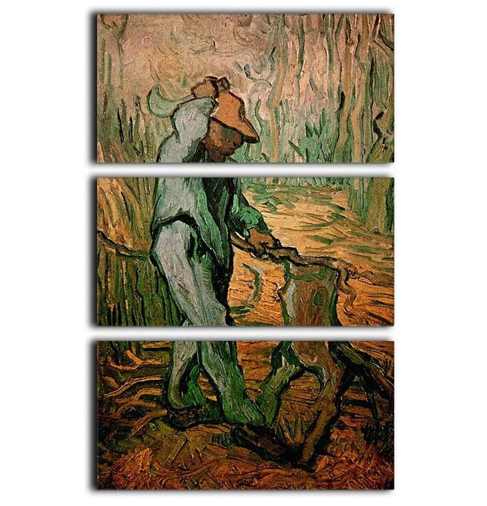 The Woodcutter after Millet by Van Gogh 3 Split Panel Canvas Print