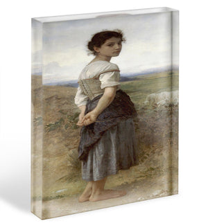 The Young Shepherdess By Bouguereau Acrylic Block - Canvas Art Rocks - 1