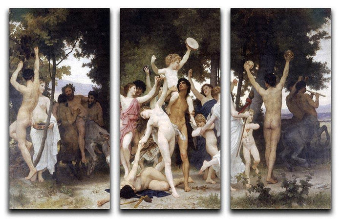 The Youth of Bacchus By Bouguereau 3 Split Panel Canvas Print