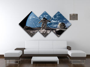 The astronaut on a background of a planet 4 Square Multi Panel Canvas - Canvas Art Rocks - 3