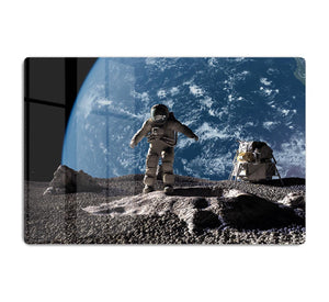 The astronaut on a background of a planet HD Metal Print