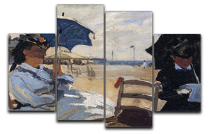 The beach a Trouville by Monet 4 Split Panel Canvas  - Canvas Art Rocks - 1