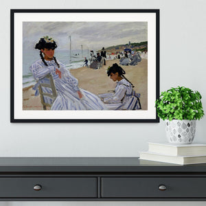 The beach at Trouville by Monet Framed Print - Canvas Art Rocks - 1