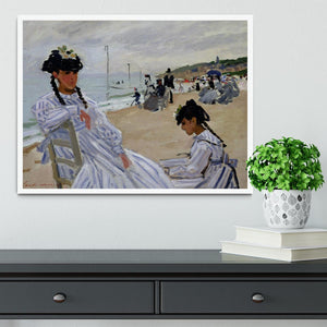 The beach at Trouville by Monet Framed Print - Canvas Art Rocks -6