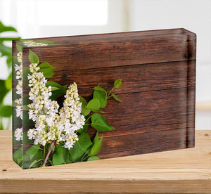 The beautiful lilac on a wooden background Acrylic Block - Canvas Art Rocks - 2
