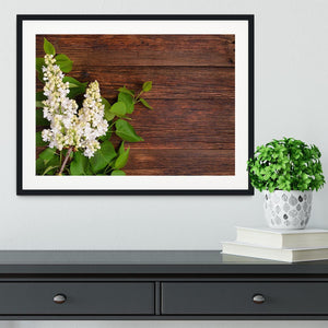 The beautiful lilac on a wooden background Framed Print - Canvas Art Rocks - 1