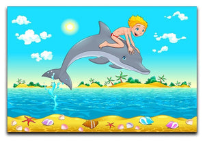 The boy and the dolphin Canvas Print or Poster  - Canvas Art Rocks - 1