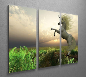 The fabled Unicorn Stag 3 Split Panel Canvas Print - Canvas Art Rocks - 2