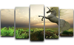 The fabled Unicorn Stag 5 Split Panel Canvas  - Canvas Art Rocks - 1