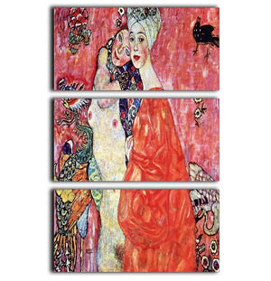 The girlfriends by Klimt 3 Split Panel Canvas Print - Canvas Art Rocks - 1