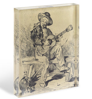 The guitar Player by Manet Acrylic Block - Canvas Art Rocks - 1