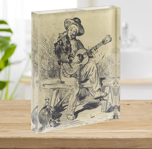 The guitar Player by Manet Acrylic Block - Canvas Art Rocks - 2