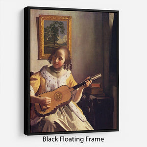 The guitar player by Vermeer Floating Frame Canvas - Canvas Art Rocks - 1