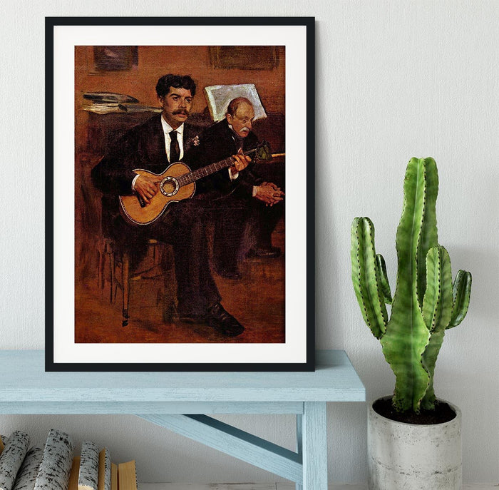 The guitarist Pagans and Monsieur Degas by Degas Framed Print
