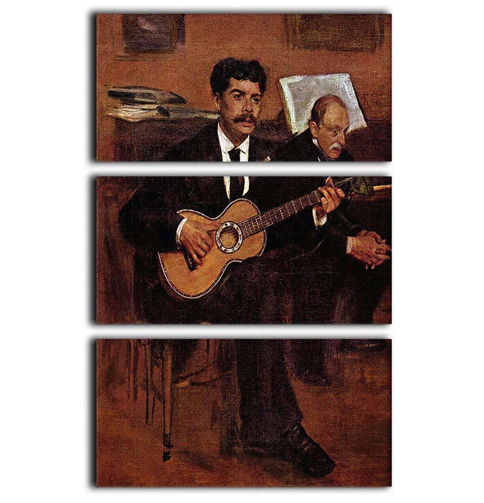 The guitarist Pagans and Monsieur Degas by Manet 3 Split Panel Canvas Print