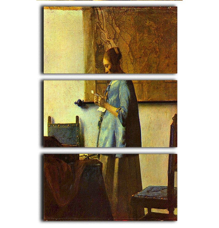 The letter reader by Vermeer 3 Split Panel Canvas Print
