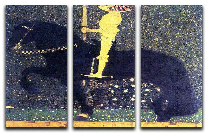 The life of a struggle The Golden Knights by Klimt 3 Split Panel Canvas Print