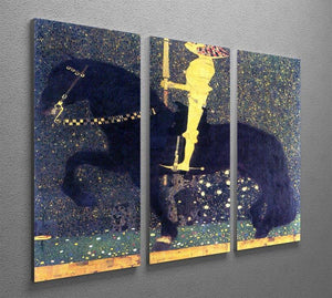The life of a struggle The Golden Knights by Klimt 3 Split Panel Canvas Print - Canvas Art Rocks - 2