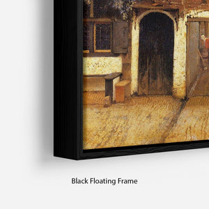 The little street by Vermeer Floating Frame Canvas - Canvas Art Rocks - 2