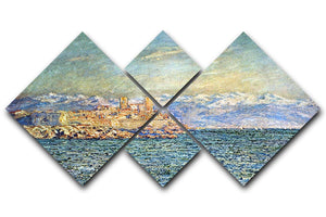The old Fort in Antibes by Monet 4 Square Multi Panel Canvas  - Canvas Art Rocks - 1