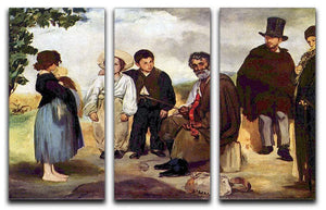 The old musician by Manet 3 Split Panel Canvas Print - Canvas Art Rocks - 1