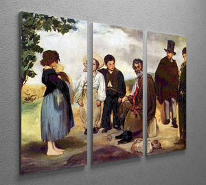 The old musician by Manet 3 Split Panel Canvas Print - Canvas Art Rocks - 2