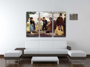The old musician by Manet 3 Split Panel Canvas Print - Canvas Art Rocks - 3