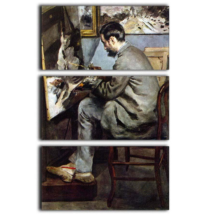 The painter in the studio of Bazille by Renoir 3 Split Panel Canvas Print