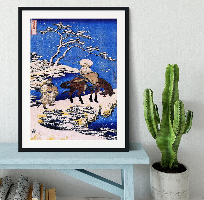 The poet Teba on a horse by Hokusai Framed Print