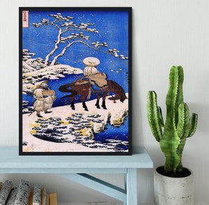 The poet Teba on a horse by Hokusai Framed Print - Canvas Art Rocks - 2
