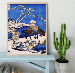 The poet Teba on a horse by Hokusai Framed Print - Canvas Art Rocks - 4