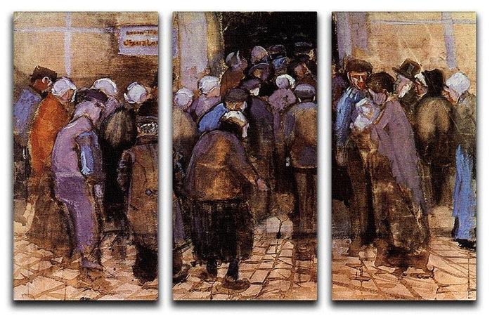 The poor and money by Van Gogh 3 Split Panel Canvas Print