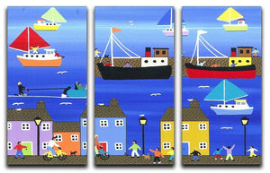 The puffer boats are in port by Gordon Barker 3 Split Panel Canvas Print - Canvas Art Rocks - 1