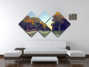 The road from Chailly to Fontainebleau by Monet 4 Square Multi Panel Canvas - Canvas Art Rocks - 3