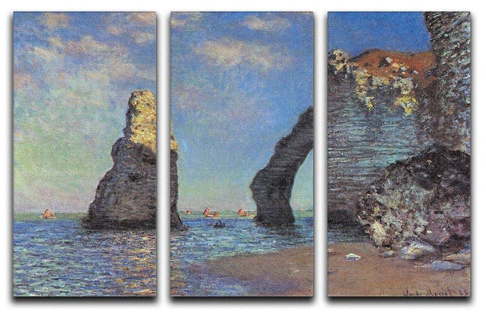The rocky cliffs of etretat by Monet Split Panel Canvas Print