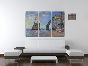 The rocky cliffs of etretat by Monet Split Panel Canvas Print - Canvas Art Rocks - 4
