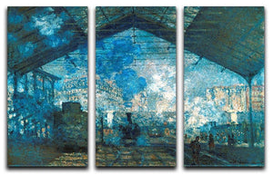 The station Saint Lazare by Monet Split Panel Canvas Print - Canvas Art Rocks - 4