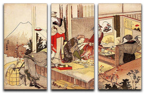 The studio of Netsuke by Hokusai 3 Split Panel Canvas Print - Canvas Art Rocks - 1