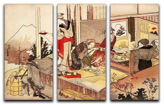The studio of Netsuke by Hokusai 3 Split Panel Canvas Print