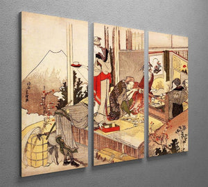 The studio of Netsuke by Hokusai 3 Split Panel Canvas Print - Canvas Art Rocks - 2