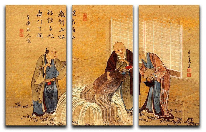 The thouthand years turtle by Hokusai 3 Split Panel Canvas Print