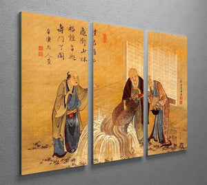 The thouthand years turtle by Hokusai 3 Split Panel Canvas Print - Canvas Art Rocks - 2